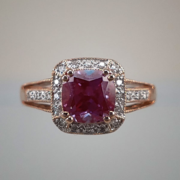 Cushon-Cut Alexandrite w Diamond Halo and Filigree