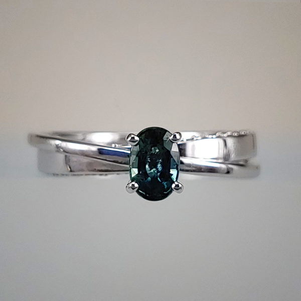 Diamond Accented Color-Changing Spinel in 14k White Gold