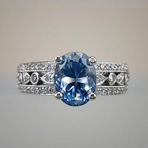 Oval-Cut Blue Topaz w White Gold Filigree Diamond Shank