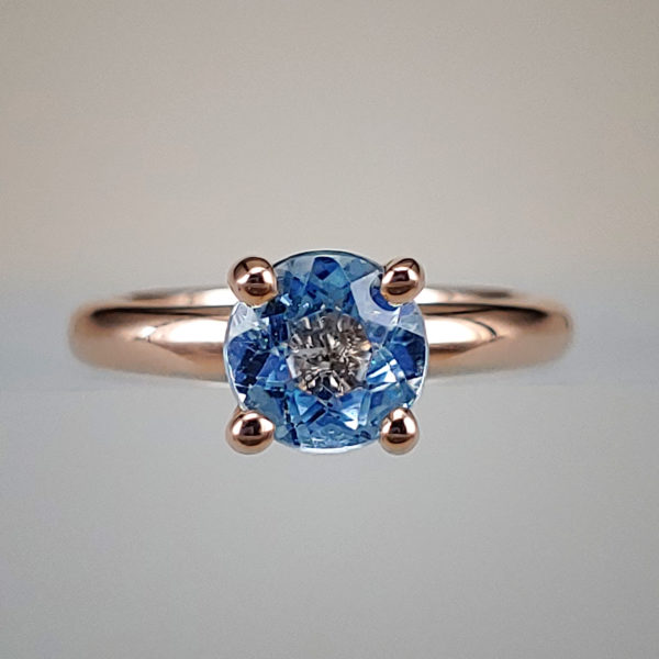 Rose Gold Prong-Set Aquamarine Solitaire Ring