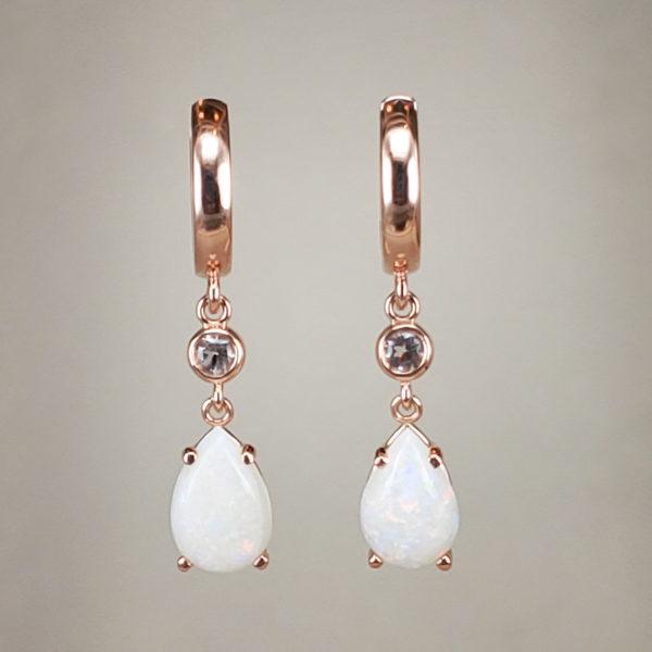 14k Rose Gold Pear-Cut Cabochon Opal Earrings w Bezel-Set Morganite Ends
