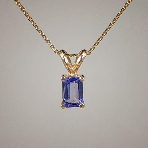 14k Yellow Gold Pendant w Emerald-Cut Prong-Set Tanzanite + Bail