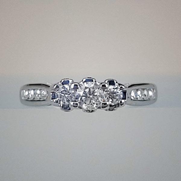 14K White Gold 3-Stone Diamond Engagement Ring w Channel Set Diamond Band