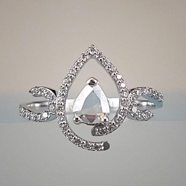 1/5 Carat Rose-Cut Pear-Shaped Diamond Engagement Ring