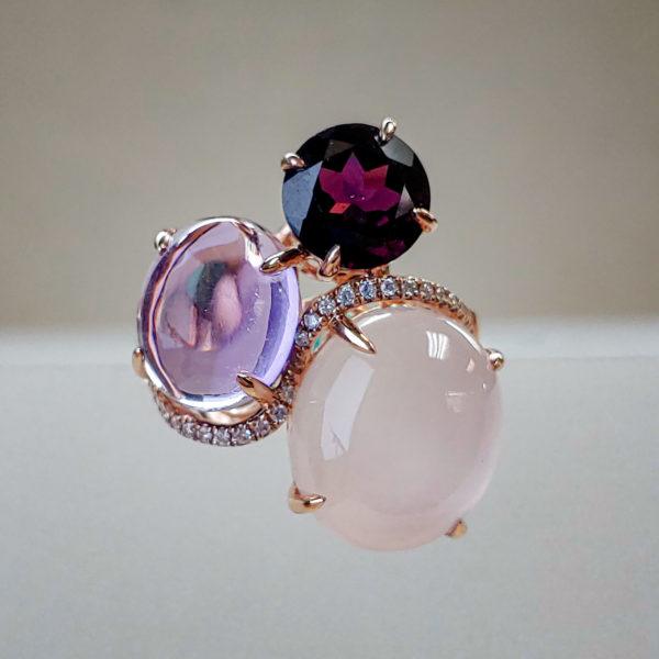 EFFY Signature Cocktail Ring w Rose Quartz, Amethyst, Rhodolite Garnet, and Brilliant Diamonds