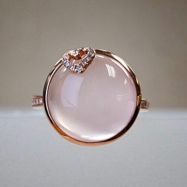 EFFY Signature 8.80ct Rose Quartz Center - 14K Rose Gold & Diamond Ring