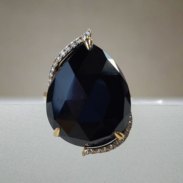 EFFY Signature 15.85ct Faceted Pear Onyx + Diamond Ring