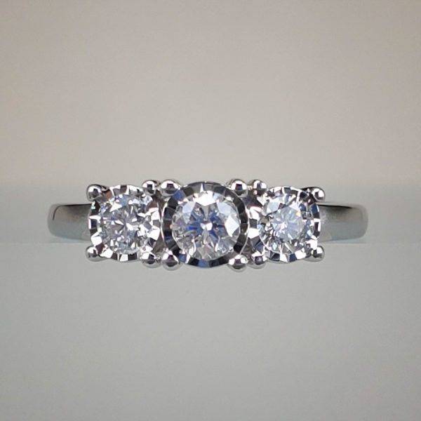 1/2 Carat 3 Stone Diamond Engagement Ring