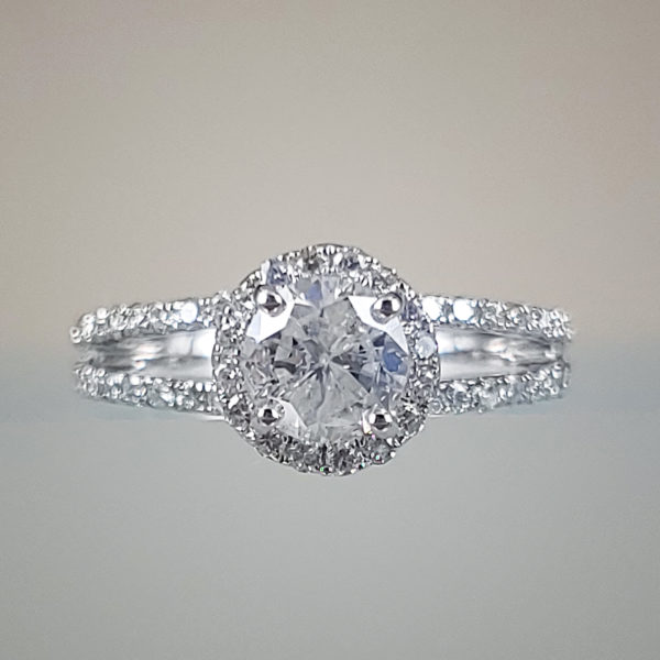 1/2 Carat Round Brilliant Diamond Halo Engagement Ring w Diamond Studded Split-Shank