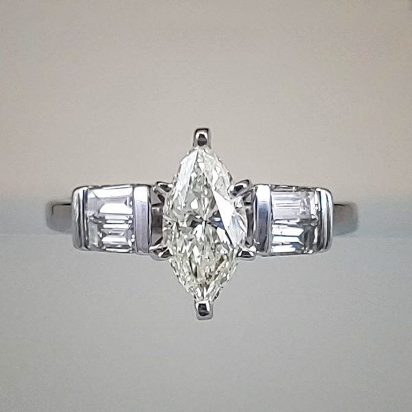 1ct Marquise Diamond Ring w Baguette Accent Diamonds on Shank