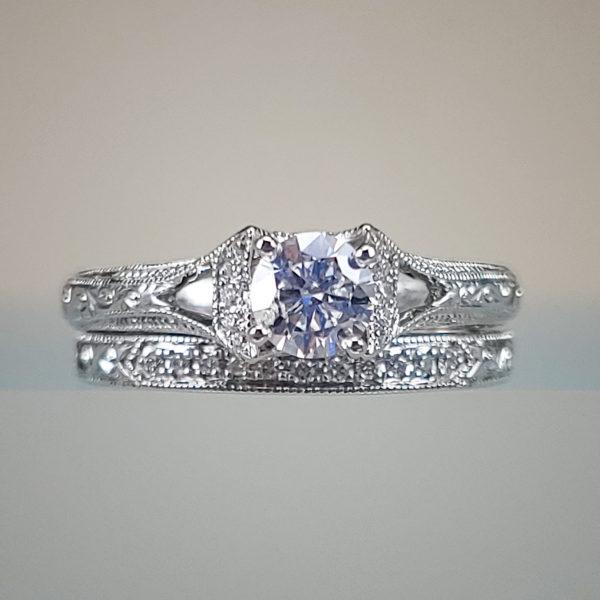 Neil Lane Engagement Ring & Wedding Band Set w Round Brilliant Diamonds