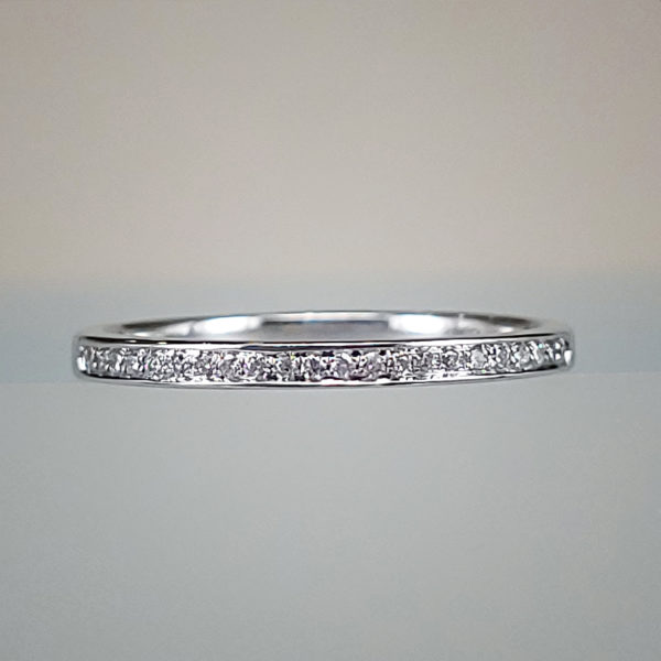 Diamond Infinity Ladies Wedding Band 14k White Gold