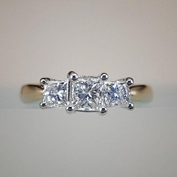 3 Stone Princess Cut Diamond Engagement Ring | 2 Tone Yellow & White Gold Wedding Ring