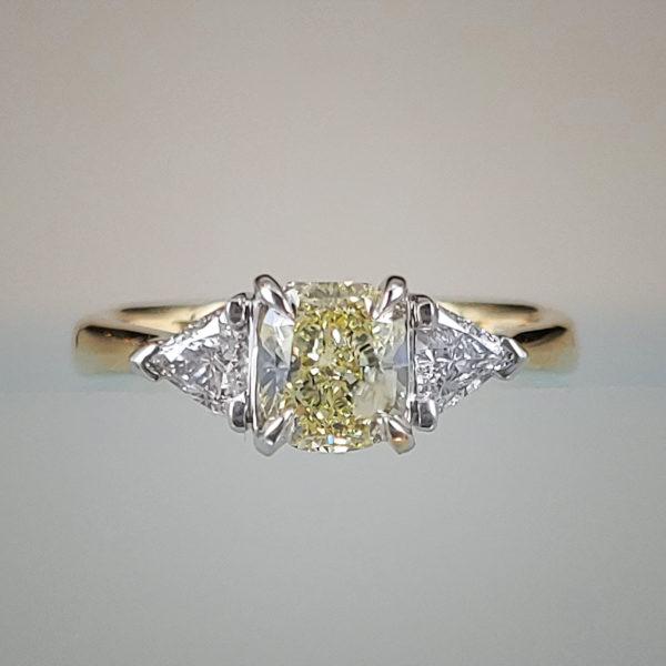1/2 Carat 3-Stone Diamond Engagement Ring with Yellow Princess Cut Diamond Center
