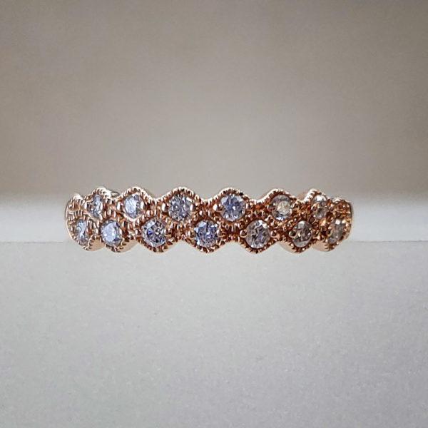 Wavy Gold Band w/ Pave Set Diamonds & Circular Rose Gold Milgrain Work