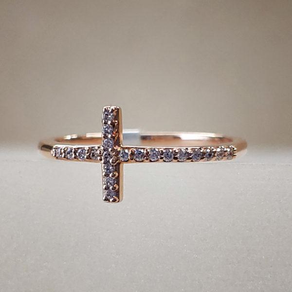 Rose Gold Diamond Cross Ring