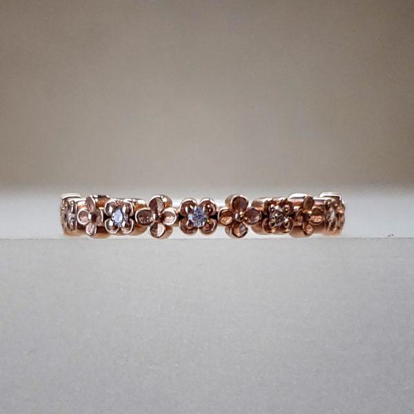 Rose Gold Flower Band w/ Round Brilliant Diamonds