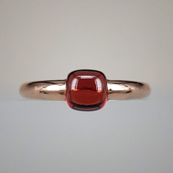 14k Rose Gold Cabochon 1.81ct Round Garnet Ring