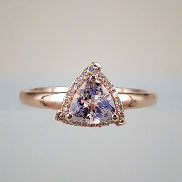 Rose Gold Trillion-Cut Peachy-Pink Morganite w Diamond Halo Ring