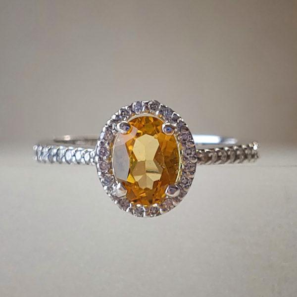 Oval-Cut Citrine w Diamond Halo in 14k White Gold