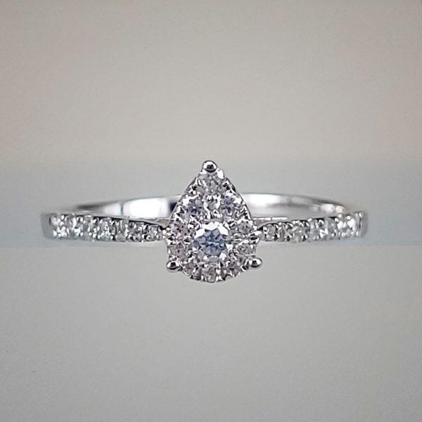 Pear-Shape Diamond Cluster Fashion Ring in 14K White Gold Diamond Paved Shank