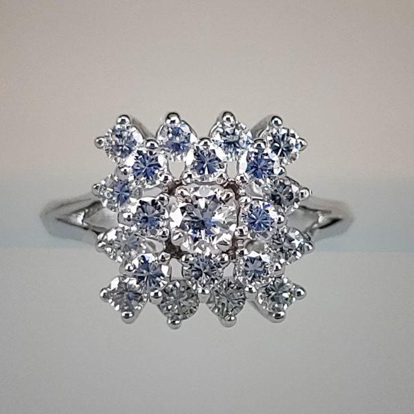 Diamond Starburst Ring w Round Brilliant Diamond Centerstone
