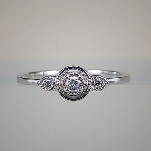Double Oval Prong-Set Diamond Ring w Diamond Filigree Accents
