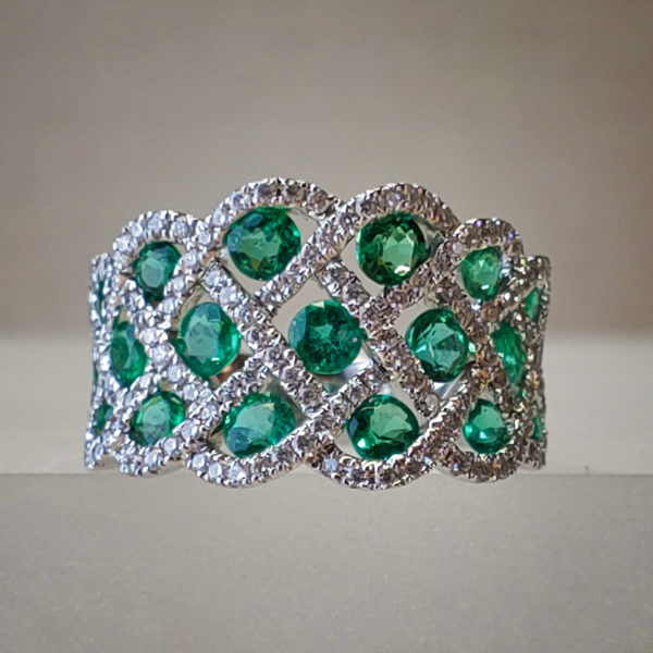 Round Prong-Set Emerald & Diamond 18K White Gold Band
