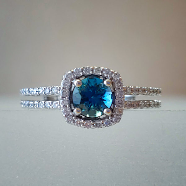 Round London Blue Topaz in Double Shank 14k White Gold Ring