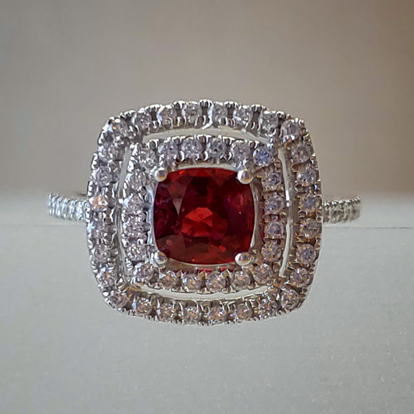 Double Diamond Halo w Natural Red Spinel in 14k White Gold
