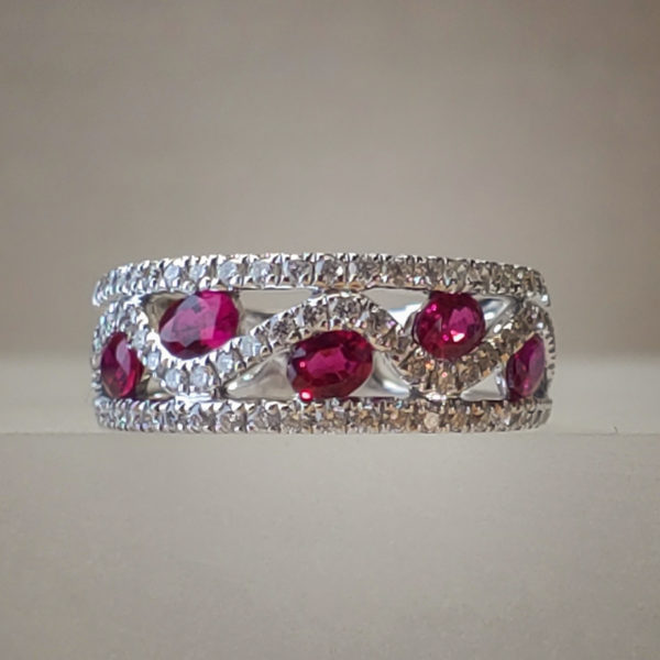 Bezel-Set Ruby + Diamond 18K White Gold Band