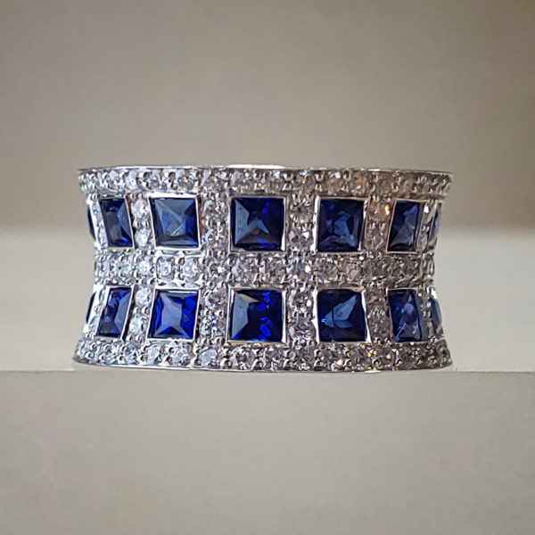 Bezel Set Princess-Cut Blue Sapphire Wide, Pinched, & Pave Diamond Ring