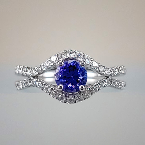 Oval-Cut Tanzanite Diamond Ring w Curved Diamond Band