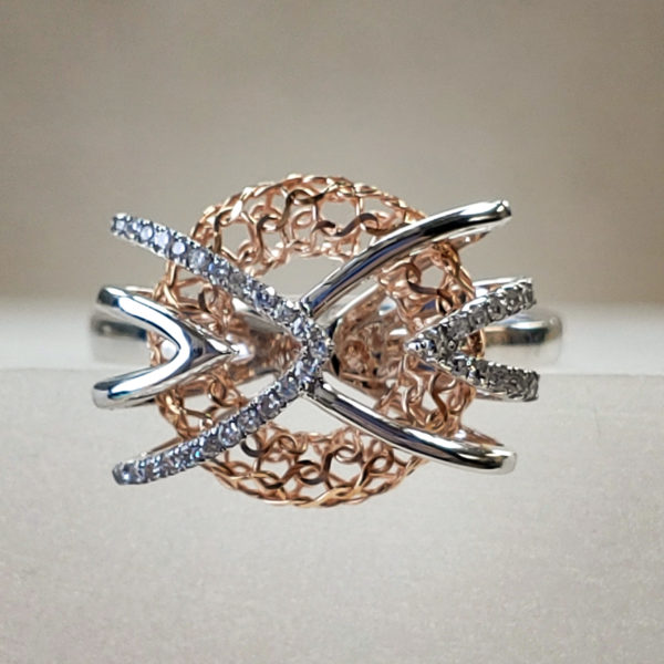 Free-Form Two-Toned 14K White/Rose Gold Mesh Diamond Ring
