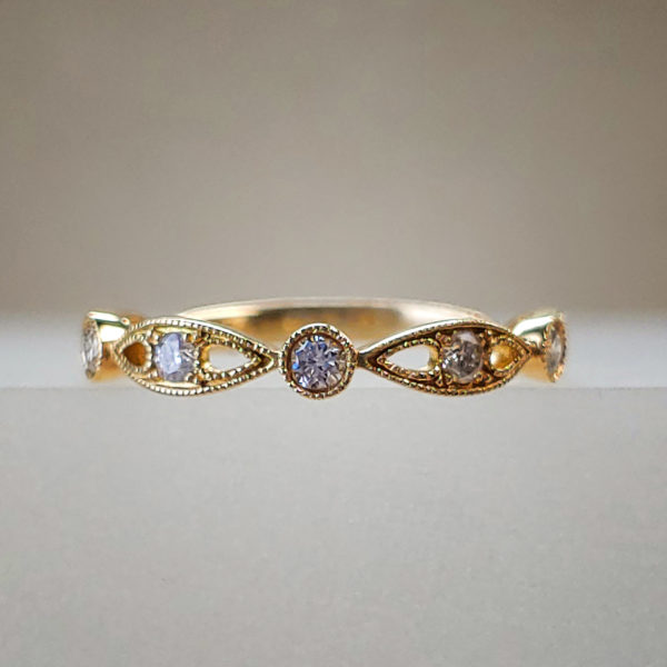 Tapered Bezel-Set Diamond Ring 14k Yellow Gold