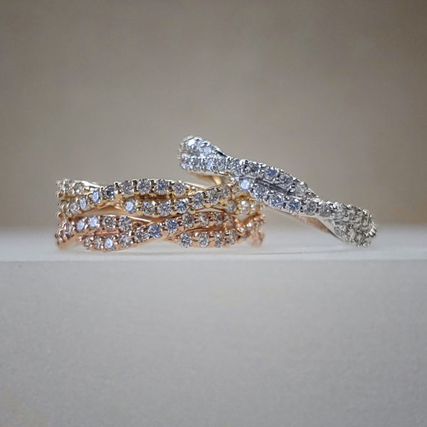 Tri-Colored Stackable Diamond Rings in White, Yellow, & Rose Gold