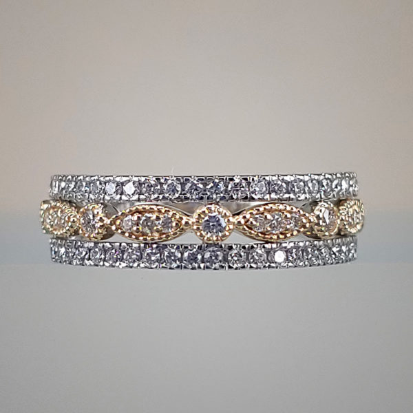 Ladies 2-Toned Milgrain Diamond Wedding Band (yellow & white gold)