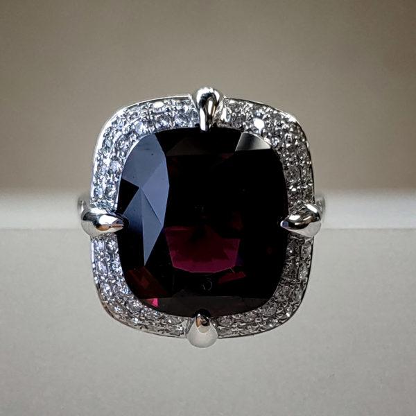 MJ Signature Series 13.65ct Multifaceted Rhodolite Garnet & Round Brilliant Diamonds