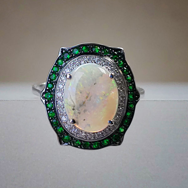 MJ Signature 1.26ct Oval Opal Center w Tsavorite Garnets & Round Brilliant Diamond