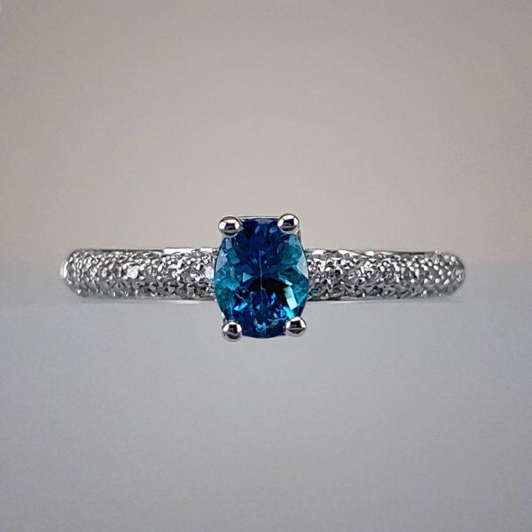 Blue Oval-Cut Paraiba Tourmaline w 14k White Gold + Diamond Encrusted Shank